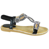 Eunie Black Bling Summer Comfy Sandals