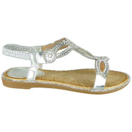 Eunie Silver Bling Summer Comfy Sandals