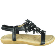 Keti Black Bling Summer Comfy Sandals