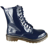 Maurine Navy Chunky Shiny Goth Punk Shoes