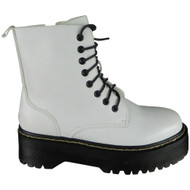 Evelina White New Ankle Chunky Goth Punk Shoes
