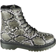 Maurine Black Snake Chunky Shiny Goth Punk Shoes