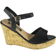 Kaiya black Peeptoe Cork high Wedge Sandal