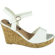 Kaiya White Peeptoe Cork high Wedge Sandal