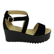 Karlee Black Peeptoe Platform High wedge Shoes