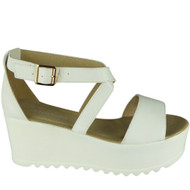 Karlee White Peeptoe Platform High wedge Shoes