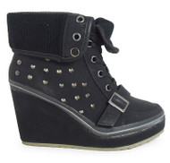 Alora Black Trainer wedge Heel Ankle Boots