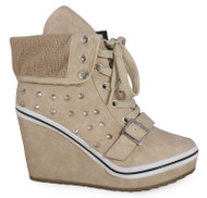 Alora Beige Trainer wedge Heel Ankle Boots