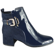 Finley Blue Ankle Party Shiny Buckle Boots