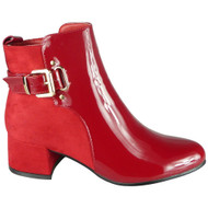 Finley Red Ankle Party Shiny Buckle Boots