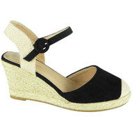 Parker Black Hessian High Heel Wedge Sandals