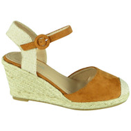 Parker Camel Hessian High Heel Wedge Sandals