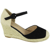 Kimberly Black Espadrilles High Heel Wedge Sandal