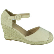 Kimberly Beige Espadrilles High Heel Wedge Sandal