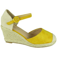 Kimberly Yellow Espadrilles High Heel Wedge Sandal