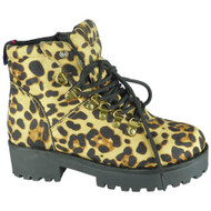 Ann Leopard Ankle Lace Up Plarform Shoes