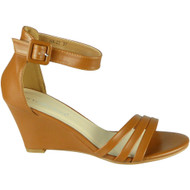 Amiyah Camel Peeptoe High Heel Party Sandals