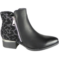 Leia Black Silver high Heel Comfy Casual Boots