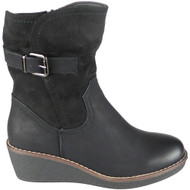 Miriam Black Mid Calf Winter Heel Casual Boots