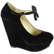 Kaia Black High Wedge Heel Platform Shoes