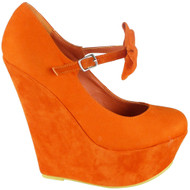 Kaia Orange High Wedge Heel Platform Shoes