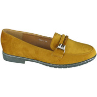 Brenna Camel Velvet Loafers Office Work Shoes