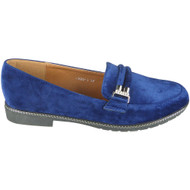 Brenna Blue Velvet Loafers Office Work Shoes