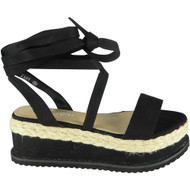 Amanda Black New Lace Up  Wedge Sandals