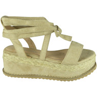 Amanda Beige New Lace Up  Wedge Sandals