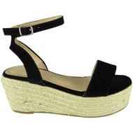Zoe Black Ankle Strap Platform Wedge Sandal