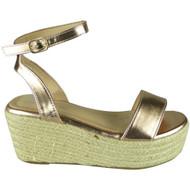 Zoe Rose Gold Ankle Strap Platform  Sandal