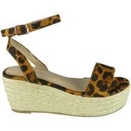Zoe Leopard Ankle Strap Platform Sandal