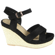 Natalia Black Wedge Strappy High Heel Shoes