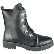 Skye Black Goth Punk Studded Ankle Boots