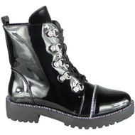 Skye Black Patent  Goth Punk Studded Ankle Boots