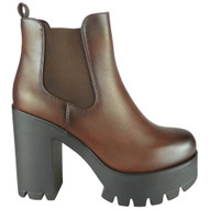 Paola Brown Chelsea High Heel Zip Platform Boots