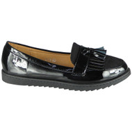 Queen Black Loafer Shiny Slip On Work Shoes