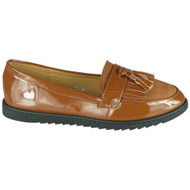 Queen Camel Loafer Shiny Slip On Work Shoes