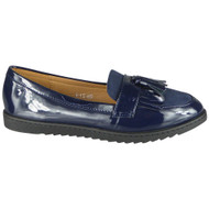 Queen Blue Loafer Shiny Slip On Work Shoes