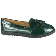 Queen Green Loafer Shiny Slip On Work Shoes