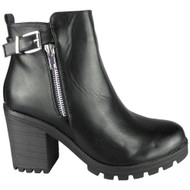 Journee Black High Chunky Heel Zip Ankle Boots