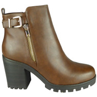 Journee Camel High Chunky Heel Zip Ankle Boots