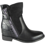 Davina Black Low Heel Ankle Zip Boots