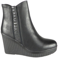 Rylee Black Wedge Heel Ankle Winter Boots