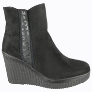 Rylee Black Suede Wedge Heel Ankle Winter Boots
