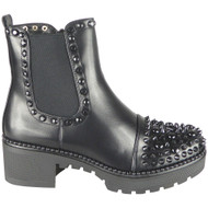 Bryley All Black Studded Zip Chelsea Boots