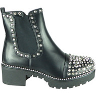 Bryley Black Silver Studded Zip Chelsea Boots