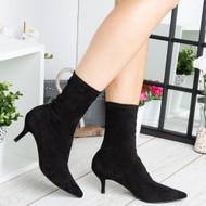 Tenley Black Mid Kitten Heel Pointed Toe Shoes