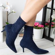 Tenley Blue Mid Kitten Heel Pointed Toe Shoes