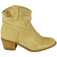 Royalty Beige Zip Cowboy Ankle Boots